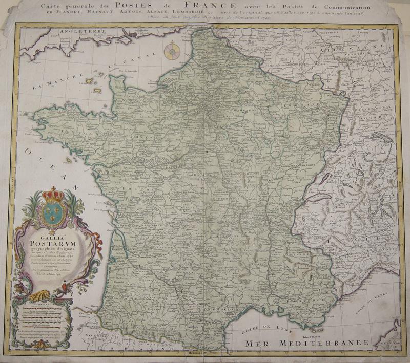 Homann Erben  Carte generale des Postes de France avec laes Postes de Communication../ Galia Postarum..