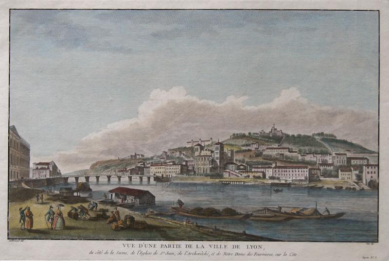 Lallemand  Vue d'une partie de la ville de Lyon. Du cote de la Saone, de l'Eglise de St. Jean, de l'Archeveche, el de Notre Dame des Fourvieres, sur la Cote.