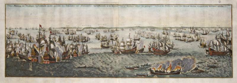 Merian Matthäus Wahre Abbildung der Mächtigen Seeschlacht so sich zwischen den Hispanischen und Holländischen Schlffarmata in den Duynen den 21. Octobris 1639 zu..