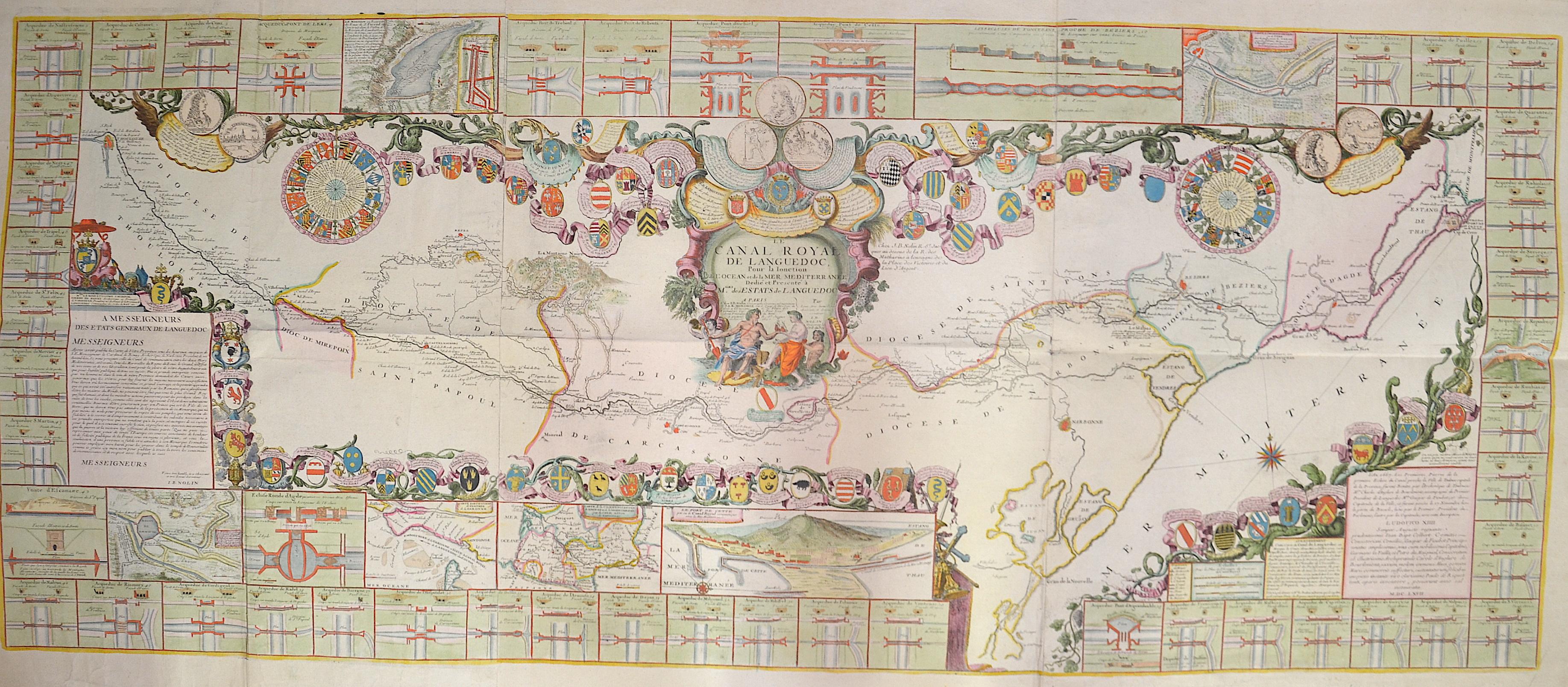 Nolin Jean Baptiste Le Canal Royal de Languedoc, Pour la Ionction de L' Ocean et de la Mer Mediterranee