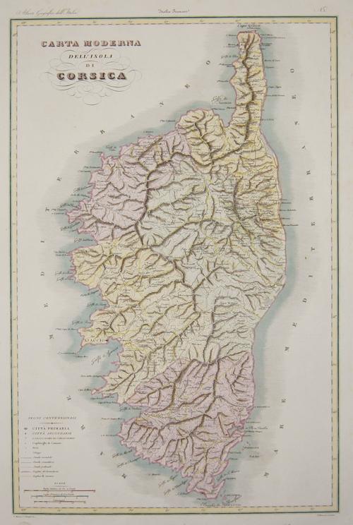 Vallardi  Carta Moderna dell'Isola di Corsica.