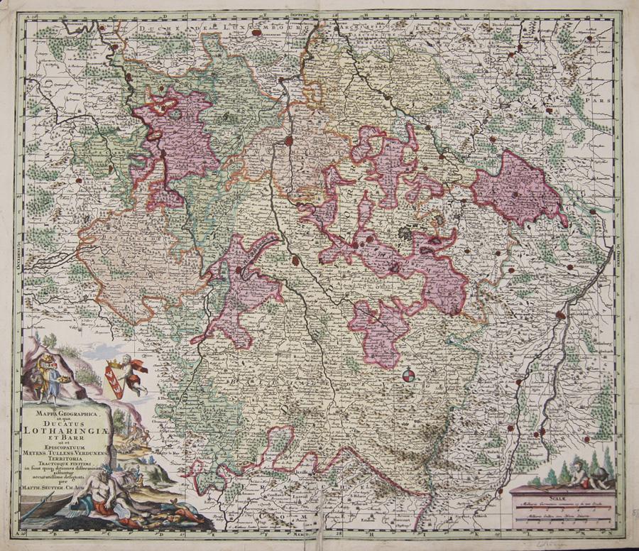 Seutter  Mappa Geographica, in qua Ducatus Lotharingiae et Barr ut et Episcopatuum Metens.