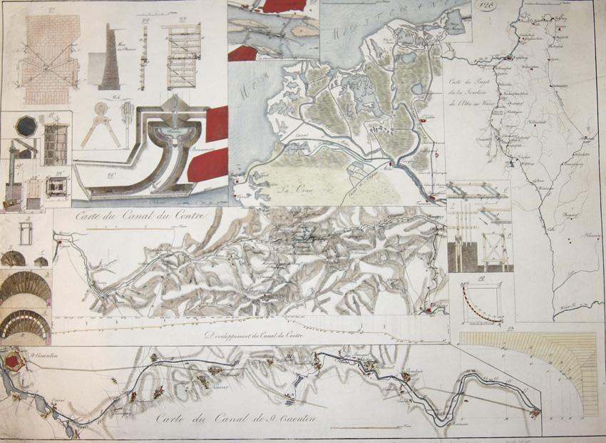 Riedl  Carte du Canal de St. Quentin. / Carte du Canal du Centre.