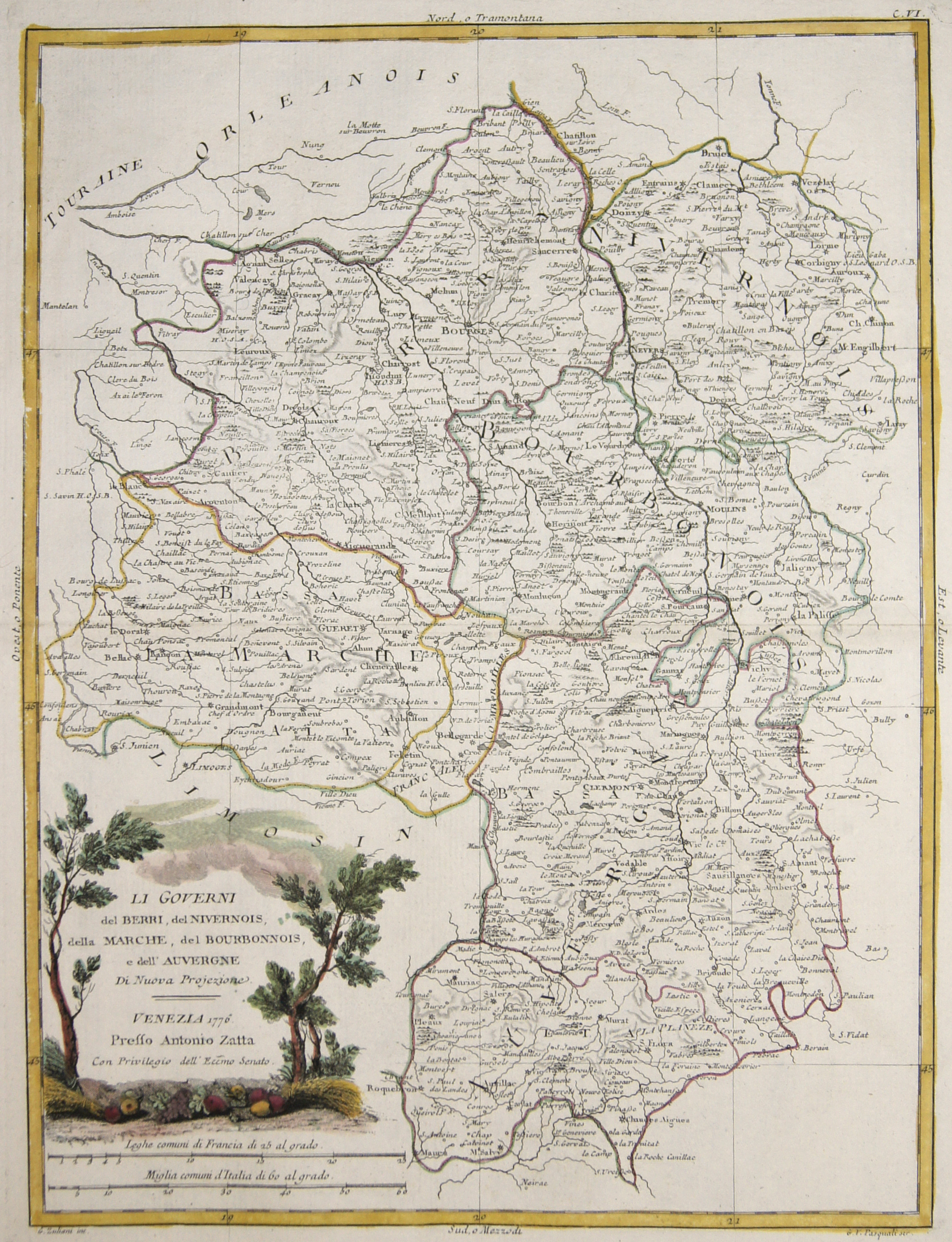 Zatta Antonio Li Governi del Berri, del Nivernois, della Marche, del Bourbonnois, e dell' Auvergne