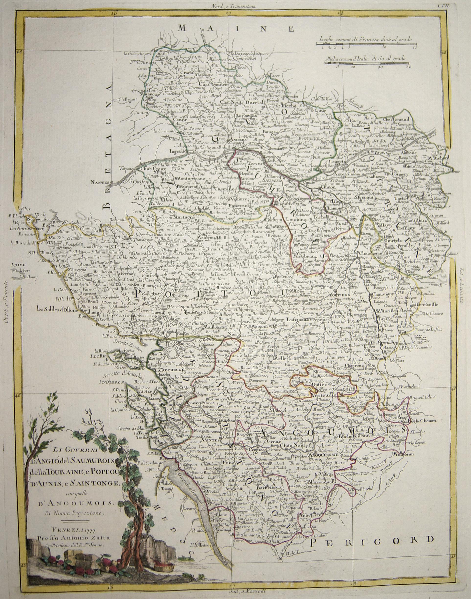 Zatta Antonio Li Governi d'Angió, del Saumurois, della Touraine, e Poitou, d'Aunis, e Saintonge, con quello d'Angoumois.