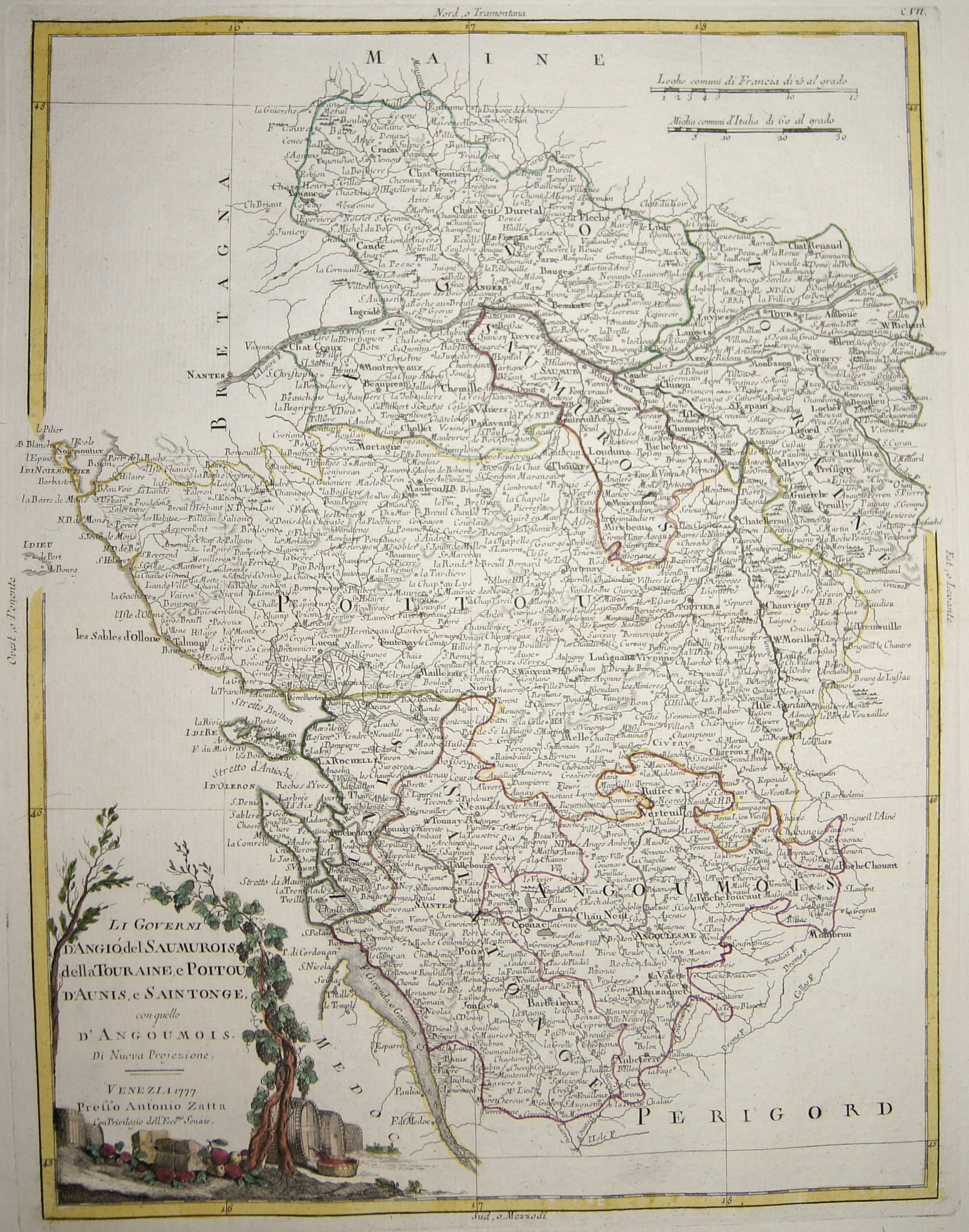 Zatta  Li Governi d'Angió, del Saumurois, della Touraine, e Poitou, d'Aunis, e Saintonge, con quello d'Angoumois.
