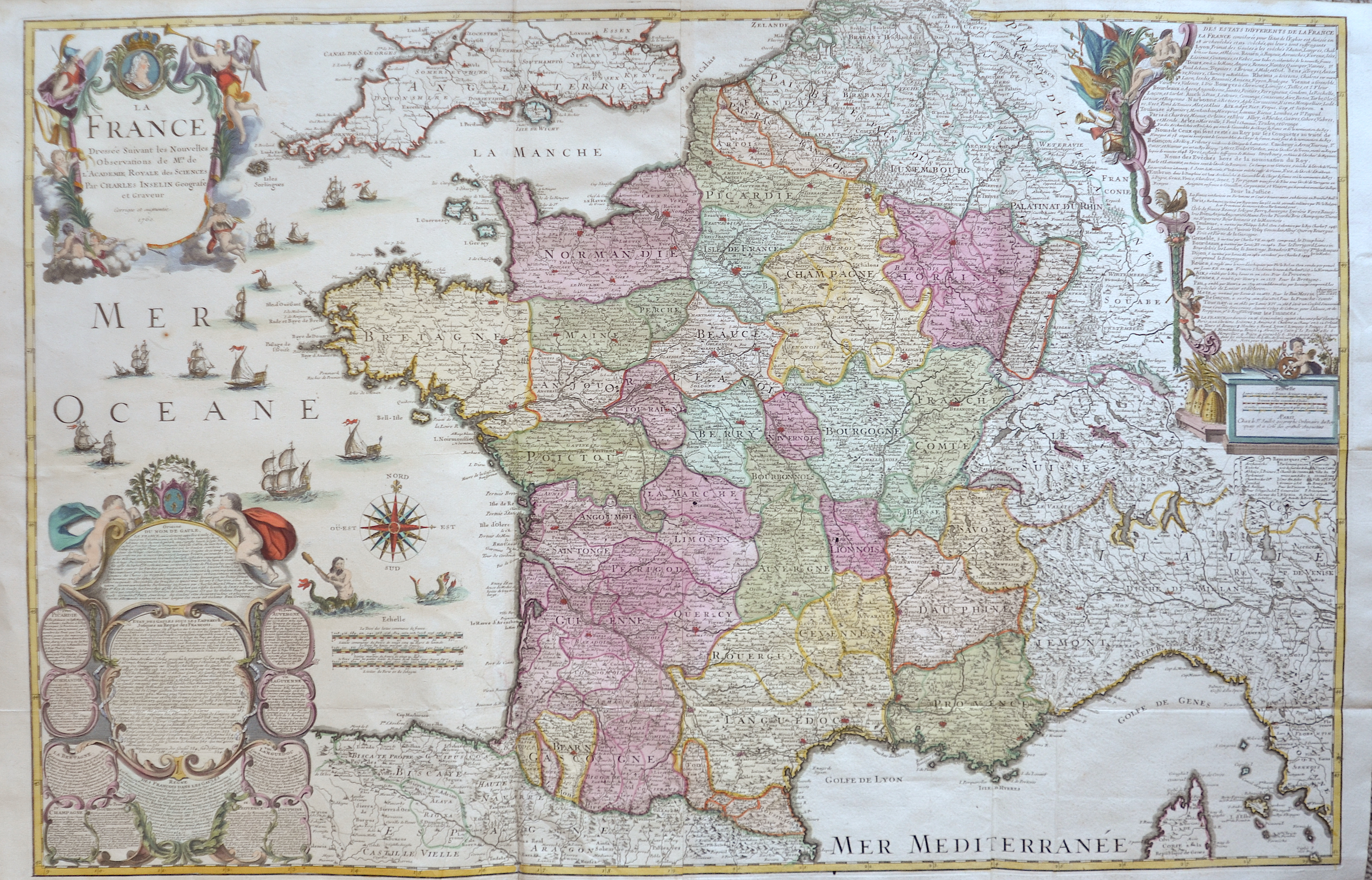 Inselin  La France Dressée Suivant les Nouvelles Observations de Mrs. De L'Academie Royale des Sciences Par Charles Inselin Geografe et Graveur