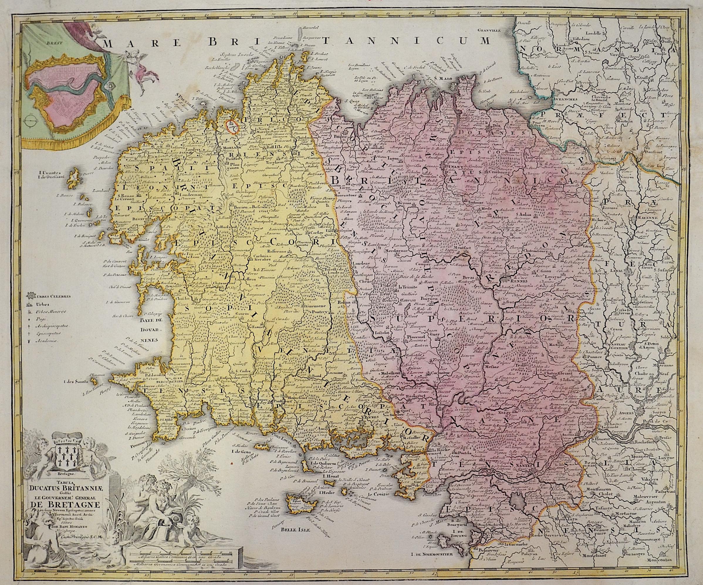 Homann Johann Babtiste Tabula Ducatus Britanniae Gallis le Gouvernemt General de Bretagne