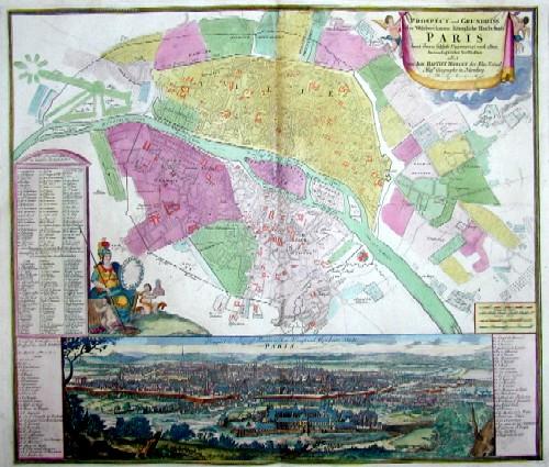 Homann  Prospect und Grundriss der Weltberühmten Königliche Haubt Stadt Paris sammt ihrem Schloss, Universtat und allen herumligenden Vorstadten