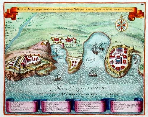 Bodenehr  Abriß der Dreyen, gegeneinander KorrespondierendenVestungen Monaco, Cap di Sant Spirito und Niza die Privenza