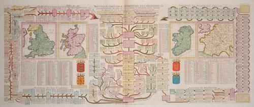 Chatelain Henri Abraham Nouvelle carte pour entruduire a la geographie et a la genealogie des Roys d´Angleterre et d´Ecosse…..