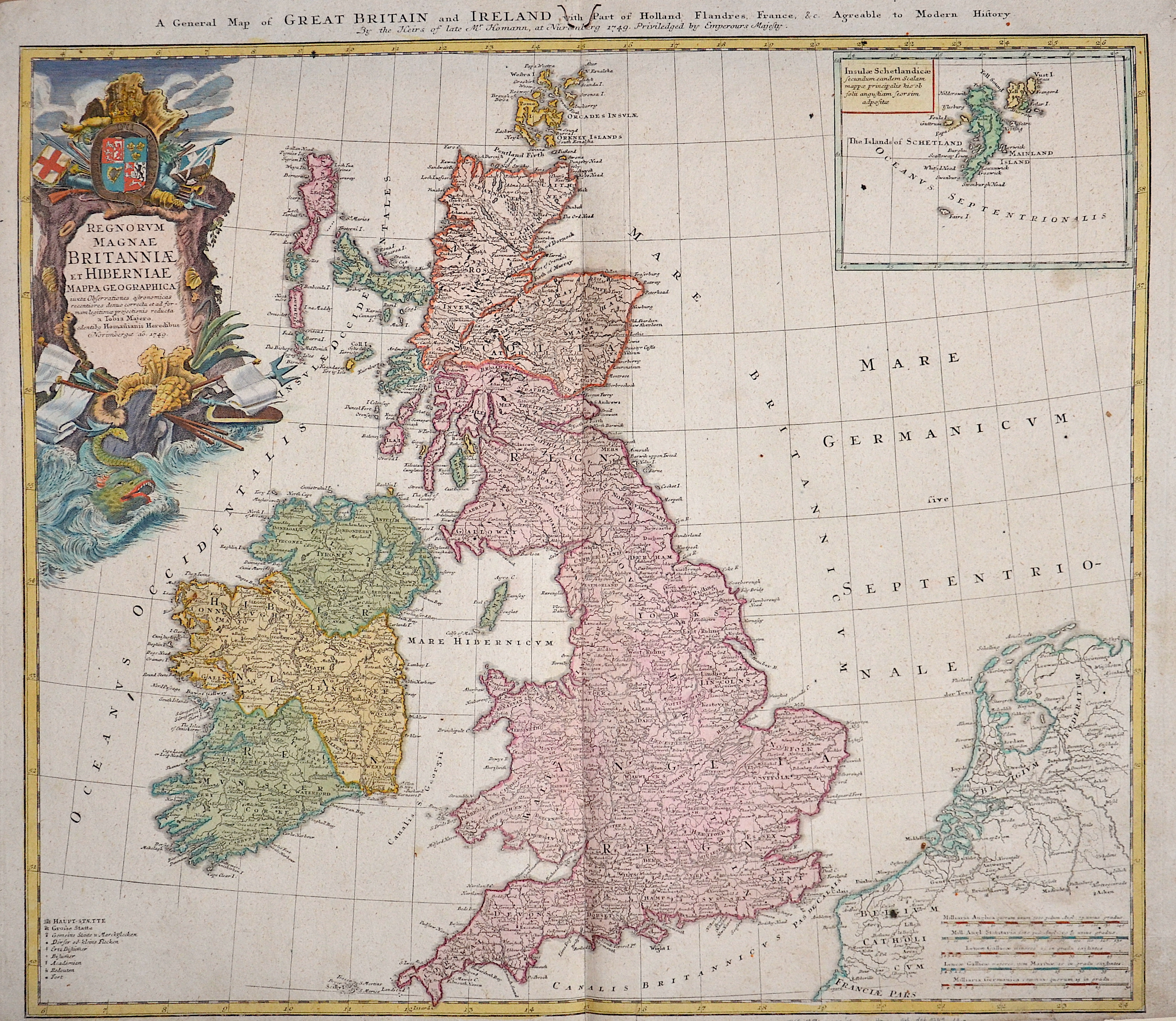 Homann Erben  A general map of Great Britain and Ireland with part of Holland Flandres, France……