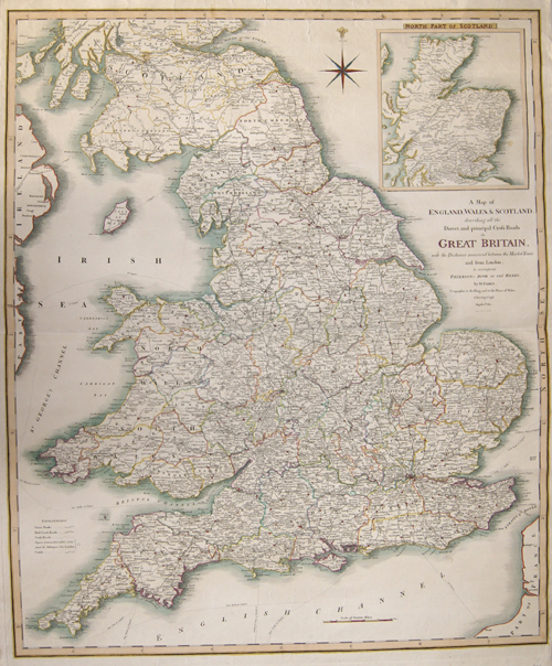 Faden William A Map of England, Wales + Scotland, describing all the Direct and principal Cross Roads in Great Britain, with the Distances measured between the..