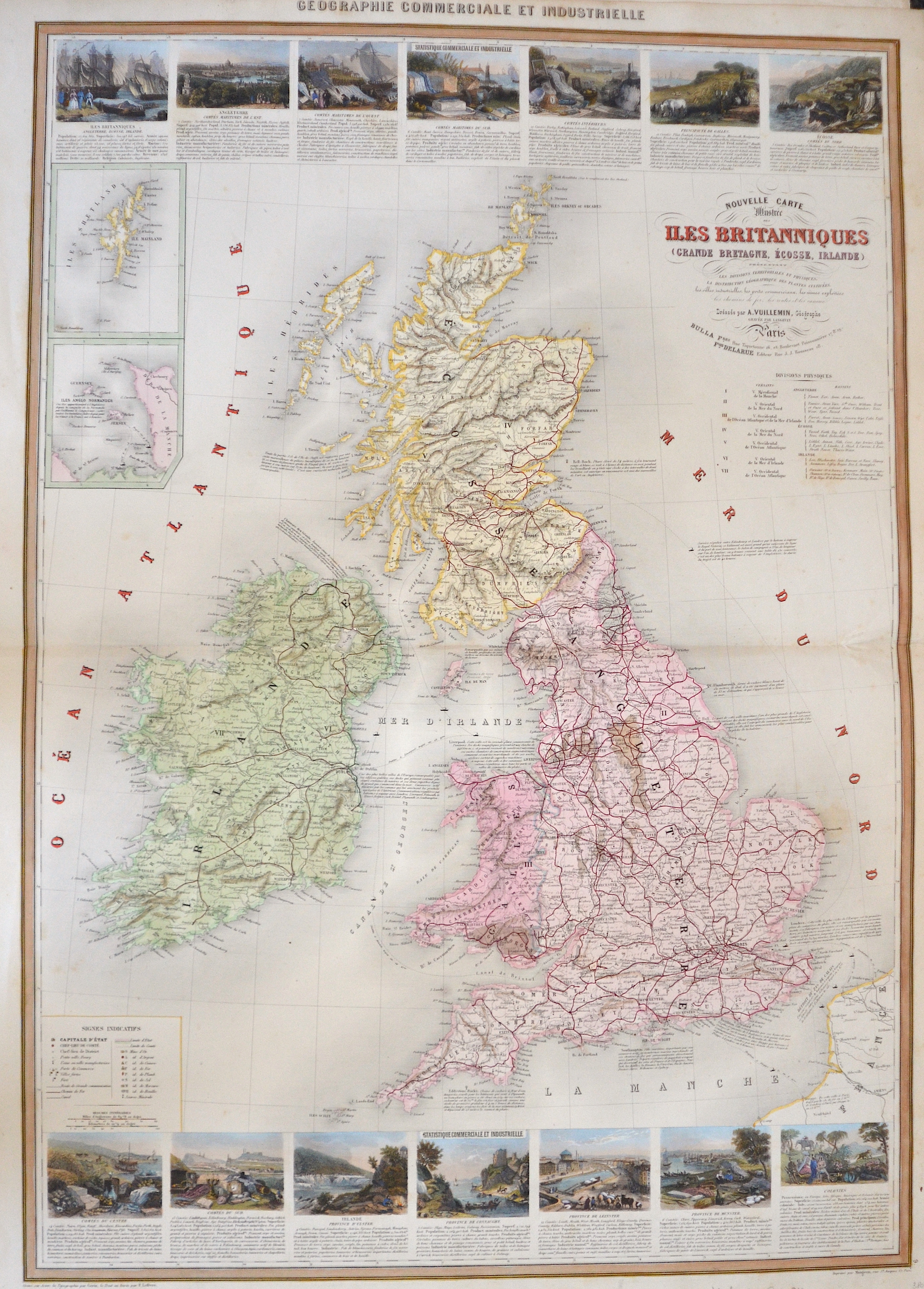 Vuillemin Alexandre Nouvelle Carte Illustree  des Iles Britanniques