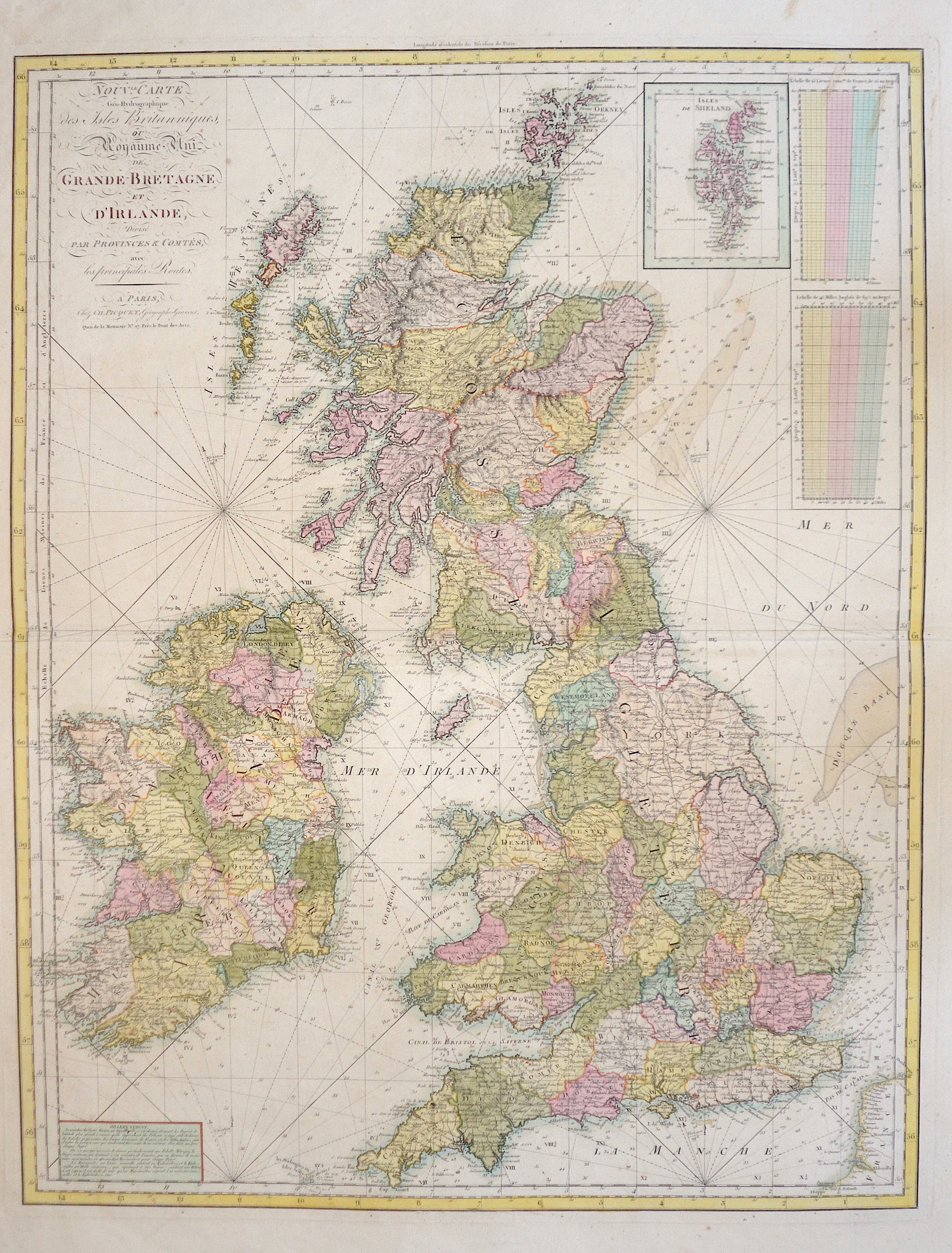 Picquet  Nouv.le Carte Geo-Hydrographique des Isles Britanniques, ou Royaume Uni de Grande Bretagne et d'Irlande