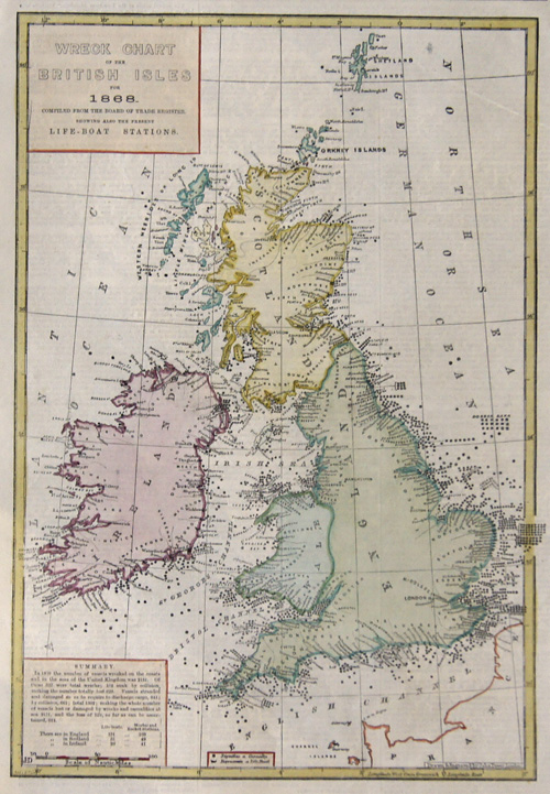 Dower  Wreck Chart of the Britisch Isles for 1868 complied from the board  of trade register. Showing also the present life – boat stations.
