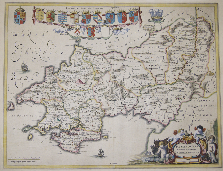 Blaeu Willem Janszoon Penbrochia Comitatus et Comitatus Caermaridunum.