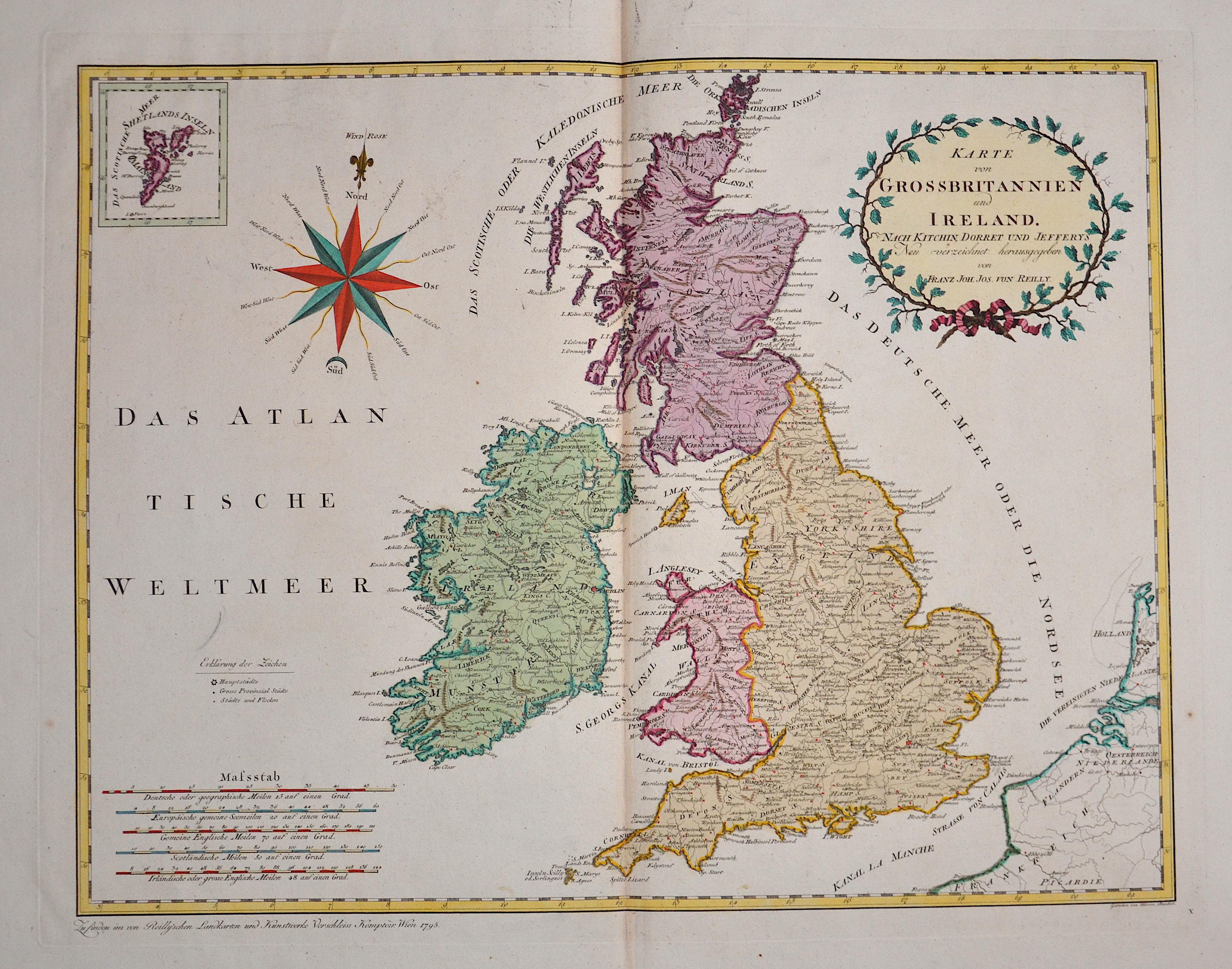 Reilly  Karte von Grossbritannien und Ireland
