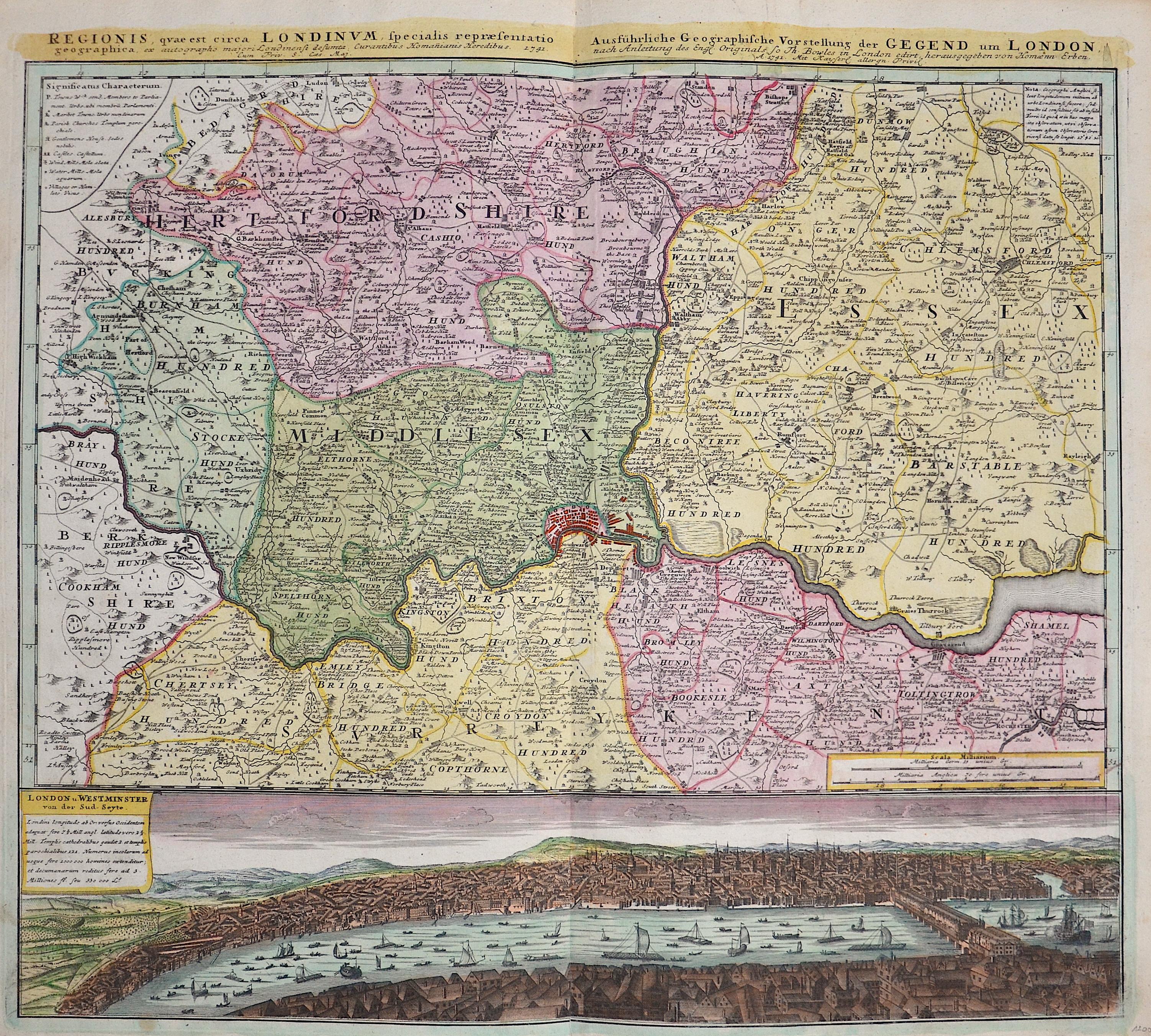 Homann Erben  Ausführliche Geographische Vorstellung der Gegend um London
