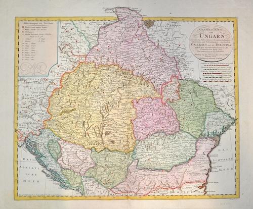 Homann Erben  General Charte von Ungarn mit seinen Nebenländern Croatien, Dalmatien, Slowonien und Siebenbürgen ingleichen Galizien und der Bukowina