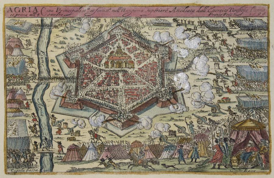 Franco  Agria Citta Principaliss a et fortiss. nell Hungaria superiore Assediata dall Cssereito Turchesco l'anno 1596