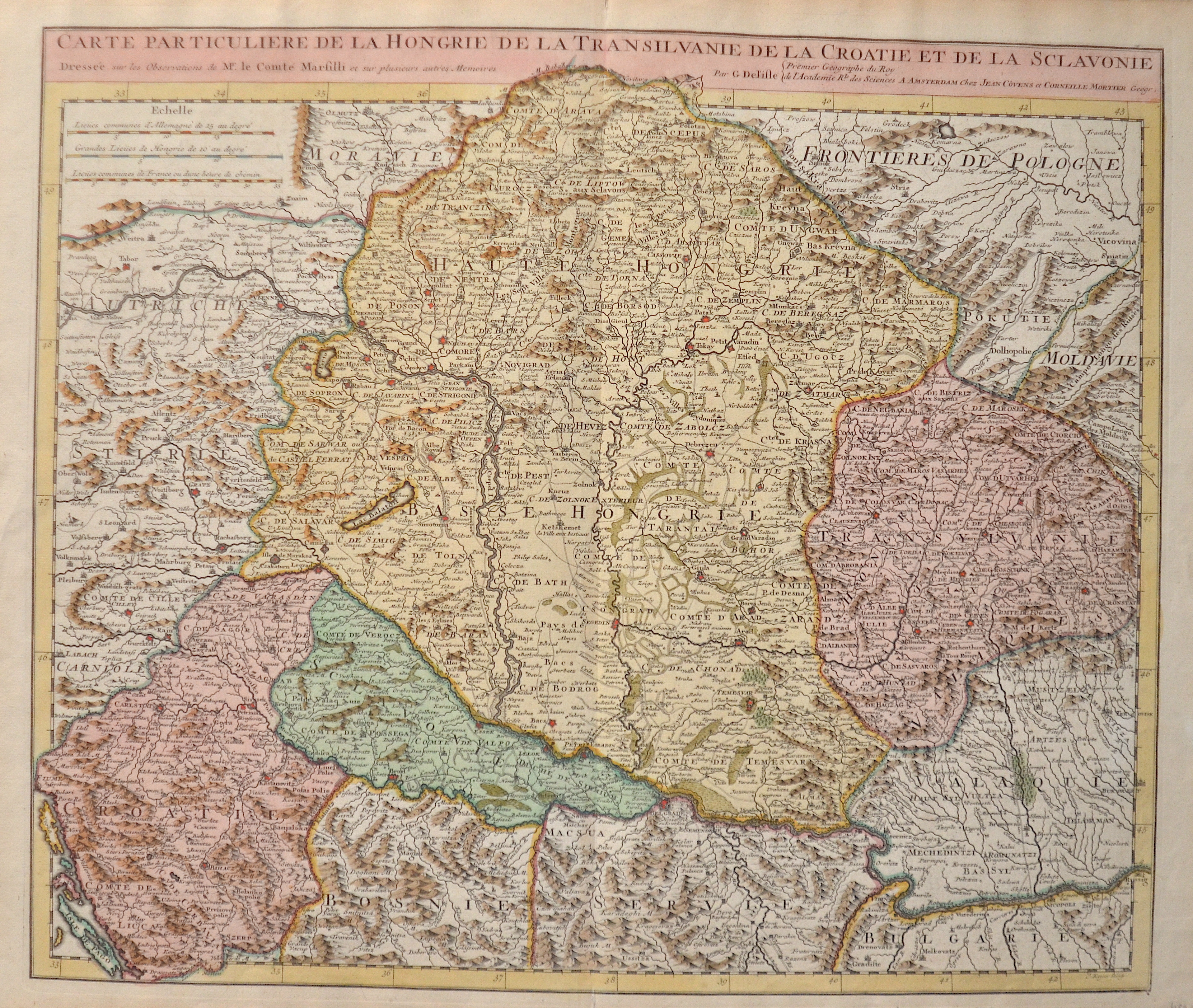 Covens/ Mortier  Carte particuliere de la Hongrie de la Transilvanie de la Coratie et de la Sclavonie