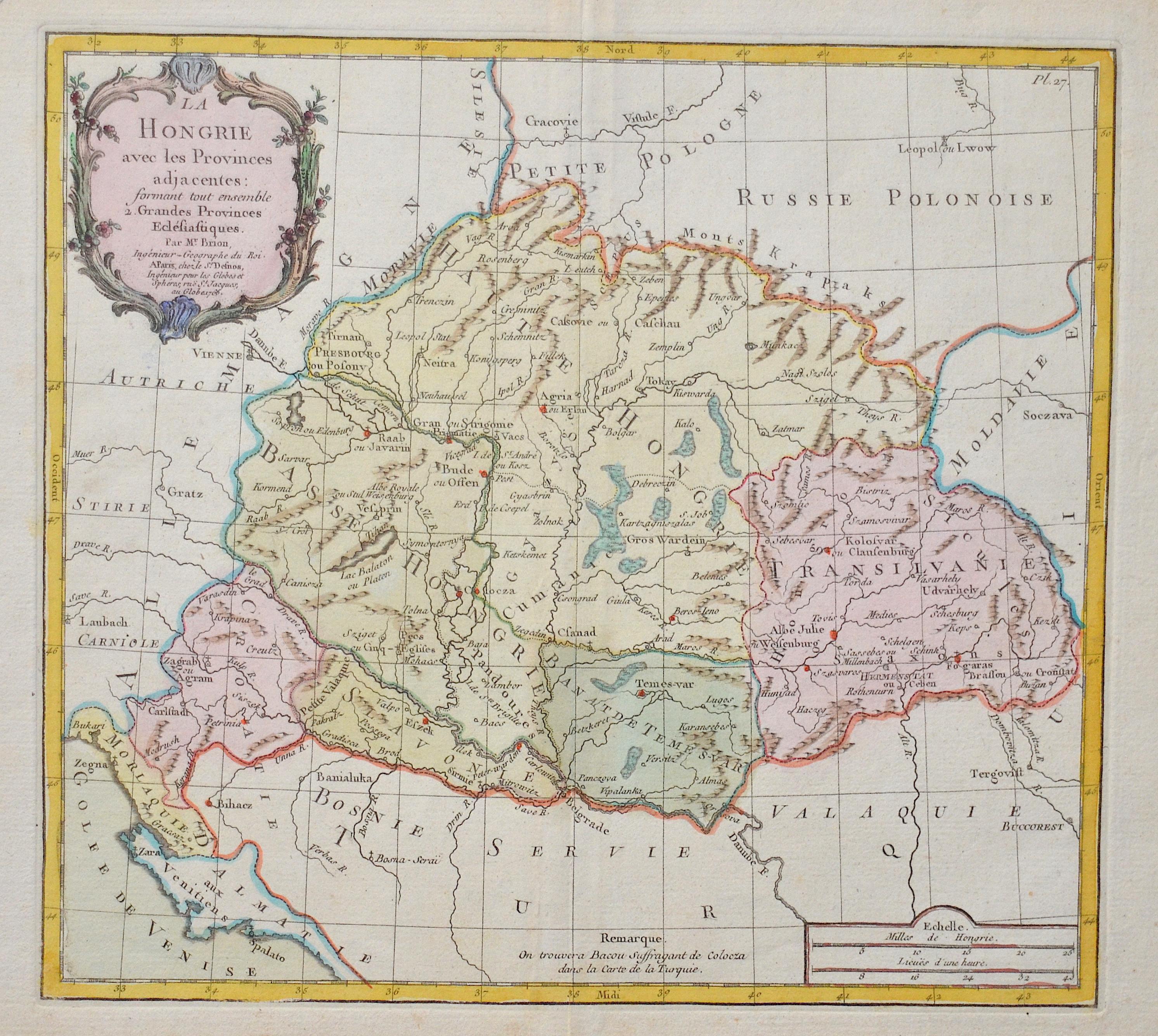 Desnos  La Hongrie avec les Provinces adjacentes