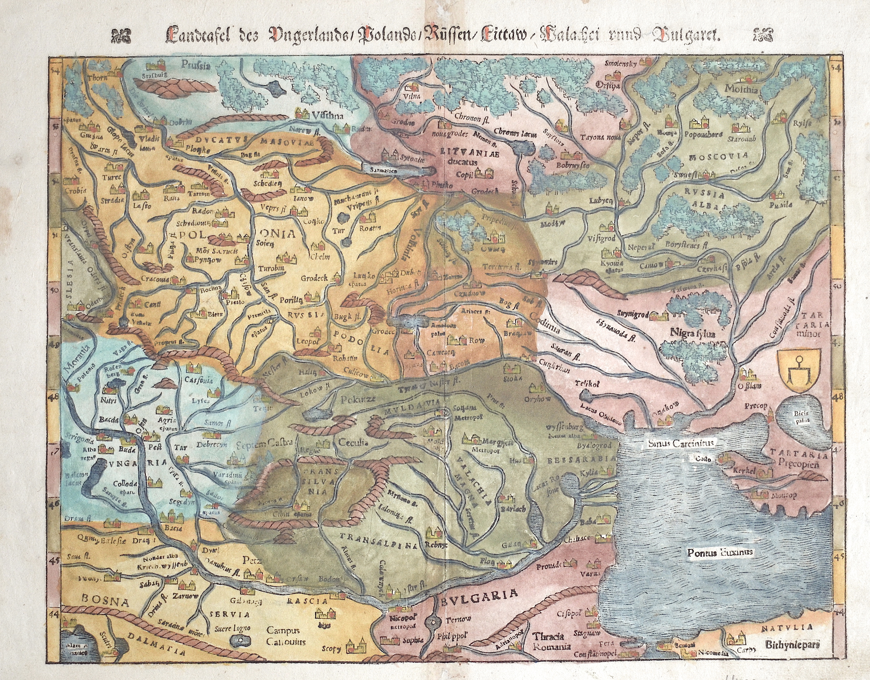 Ptolemy/Münster Sebastian  Landtafel des Ungerlands/Polands/Reussen/Littaw/Walachei und Bulgarei