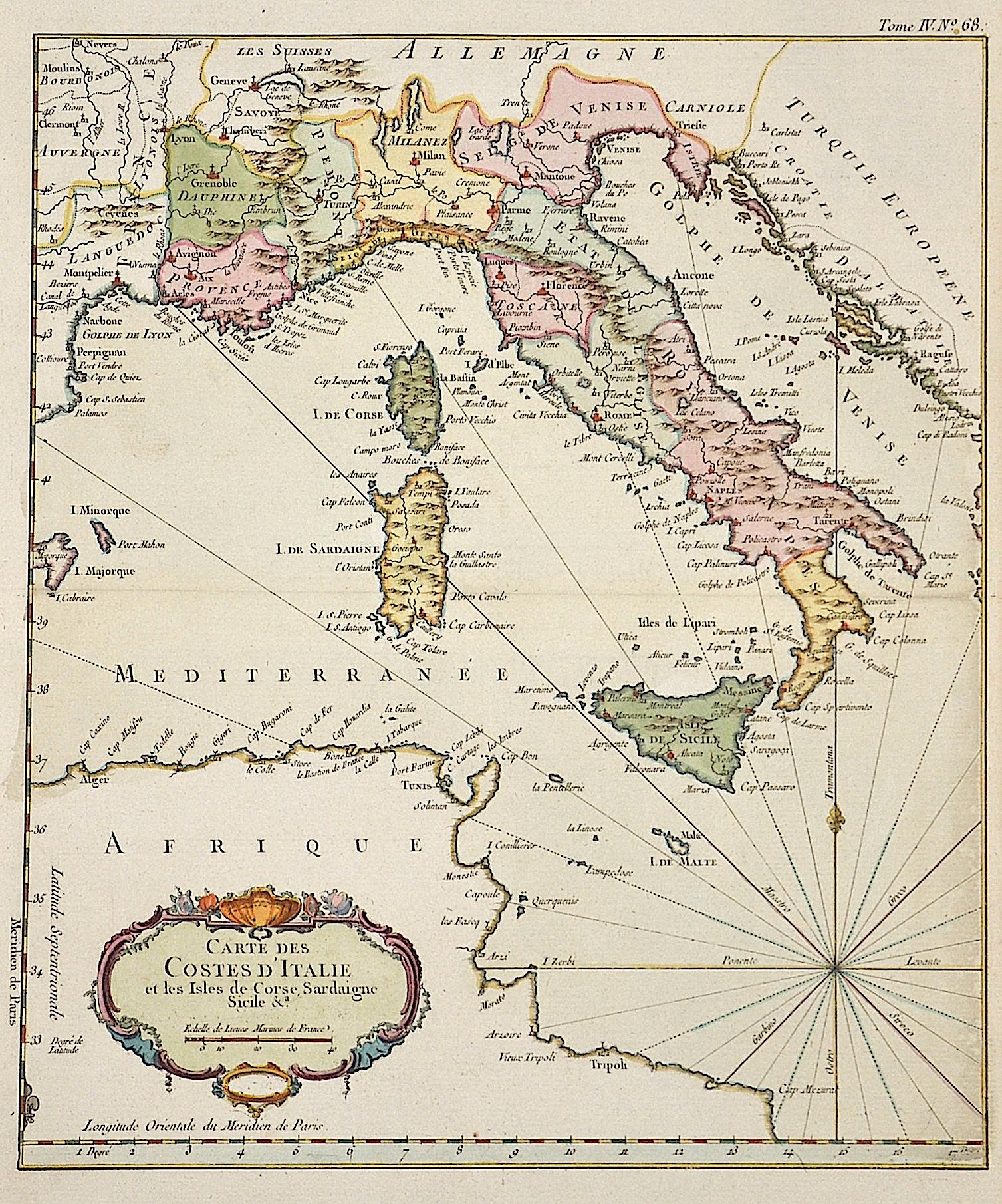 Bonne Rigobert Carte des Costes d´Italie et les Isles de Corse, Sardaigne, Sicile  A.