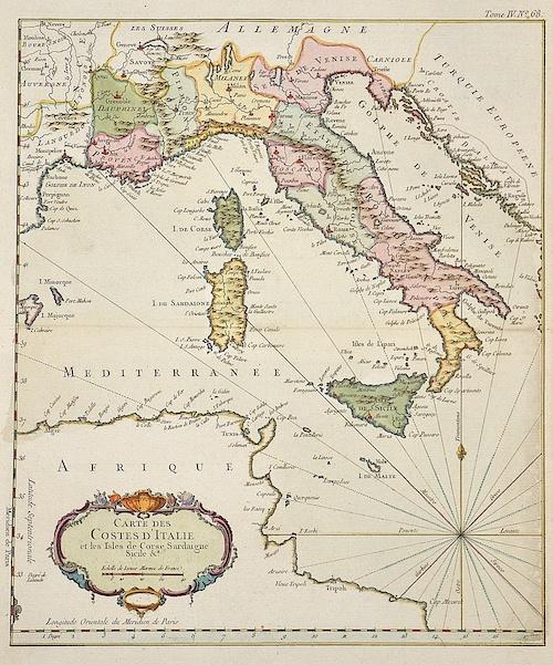 Bonne  Carte des Costes d´Italie et les Isles de Corse, Sardaigne, Sicile  A.
