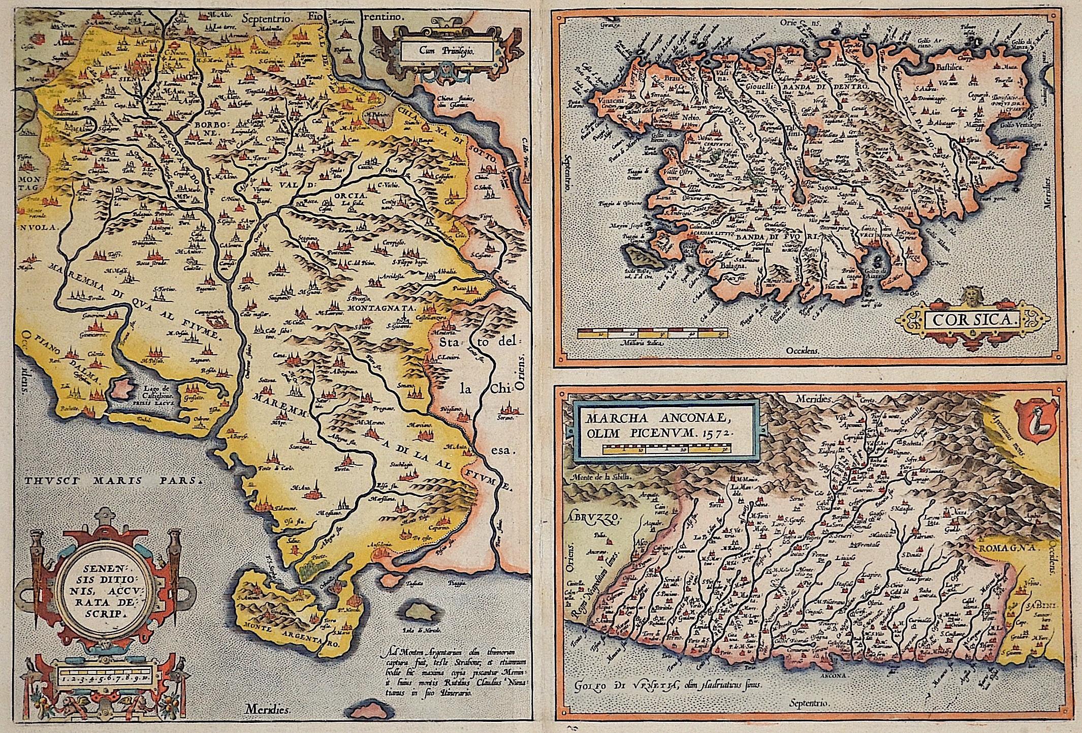 Ortelius  Senensis ditionis, accurata descrip./ Corsica/ Marcha Anconae, olim Picenum