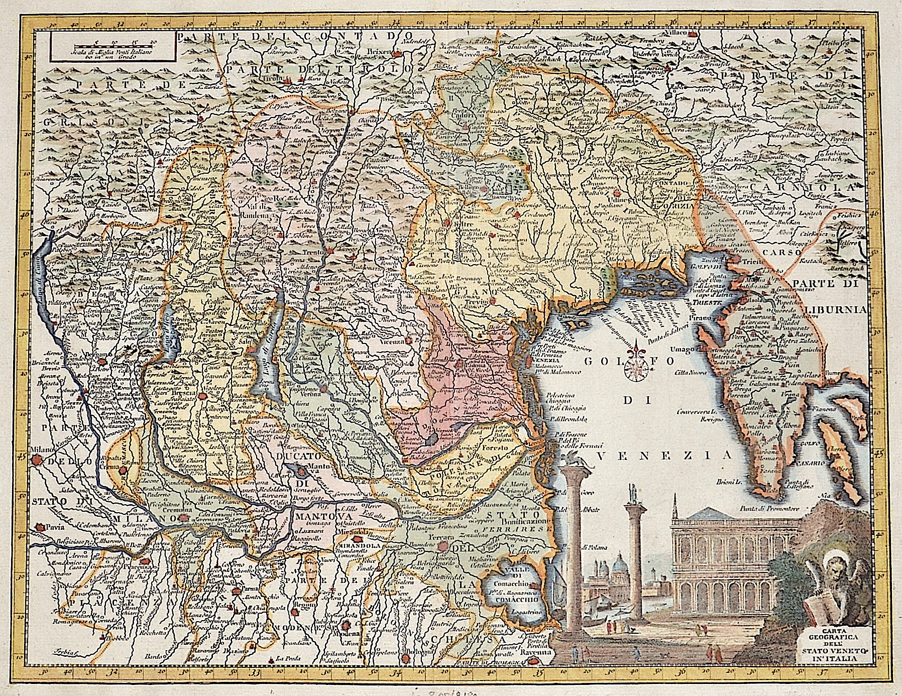 Cassini Giovanni Maria Carta Geografica dell Stato Veneto in Italia