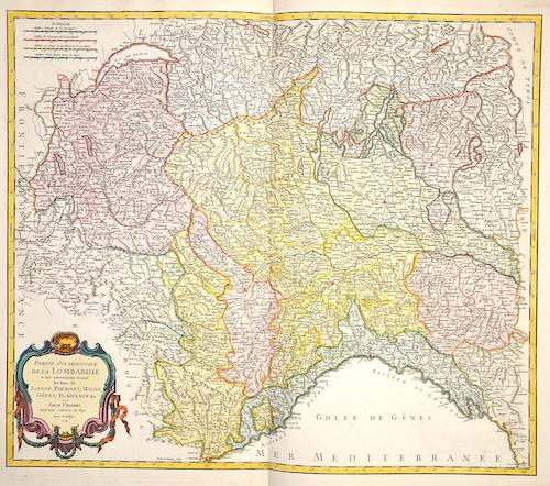 Vaugondy, de Didier/ Gilles Robert Partie occidentale de la Lombardie……Savoye, Piemont, Milan, Genes, Plaisance,