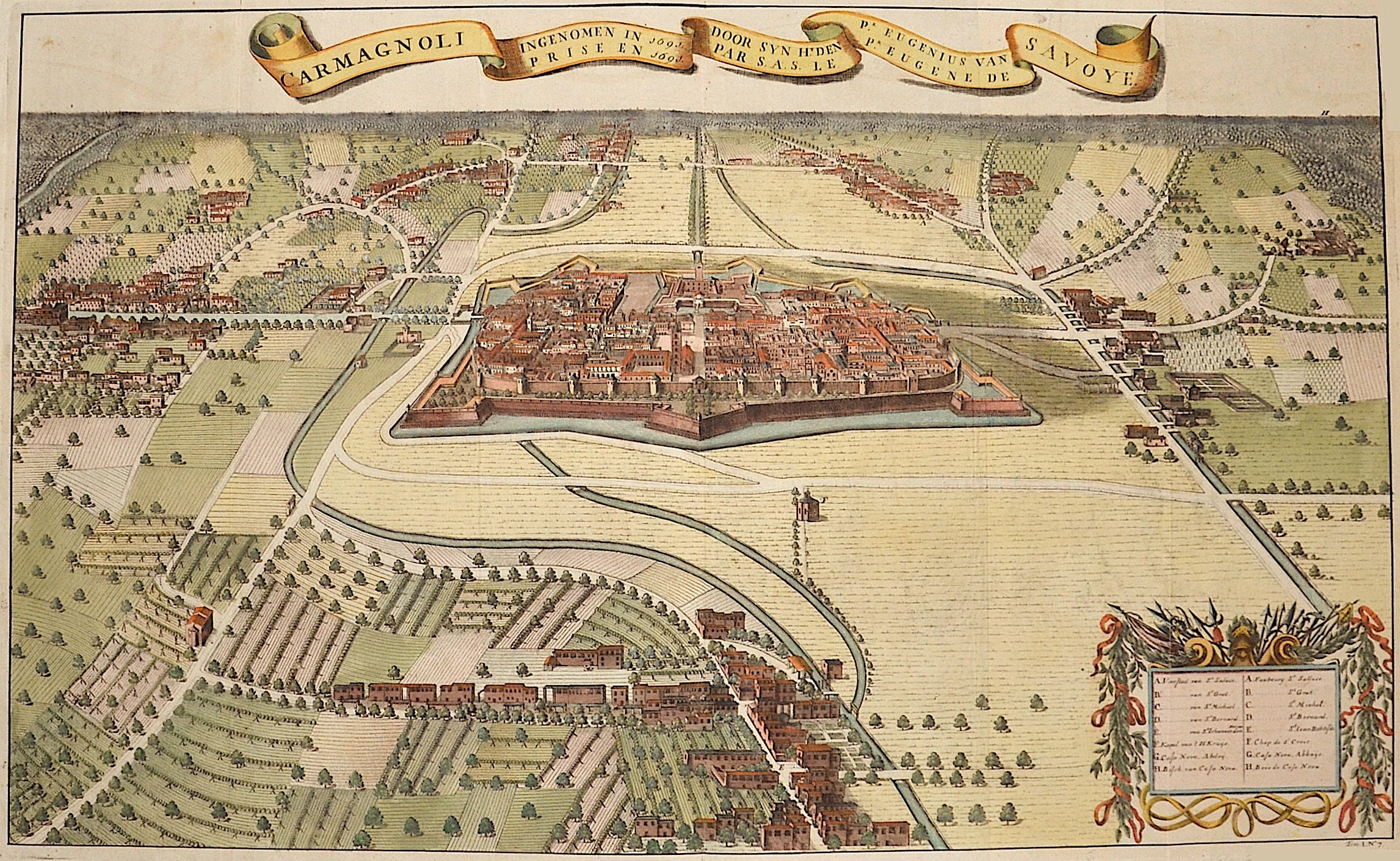 Huchtenberg, van Jan Carmagnoli ingenomen in 1691 door syn Ht.den Pr. Eugenius van Savoye…….