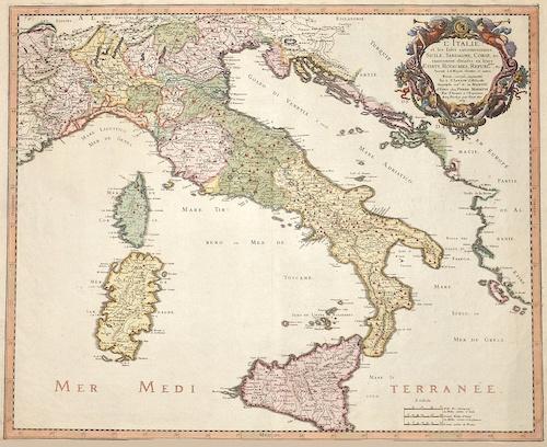 Sanson  L´Italie et les isles circomvoisines Sicile, Sardagne, Corse…..