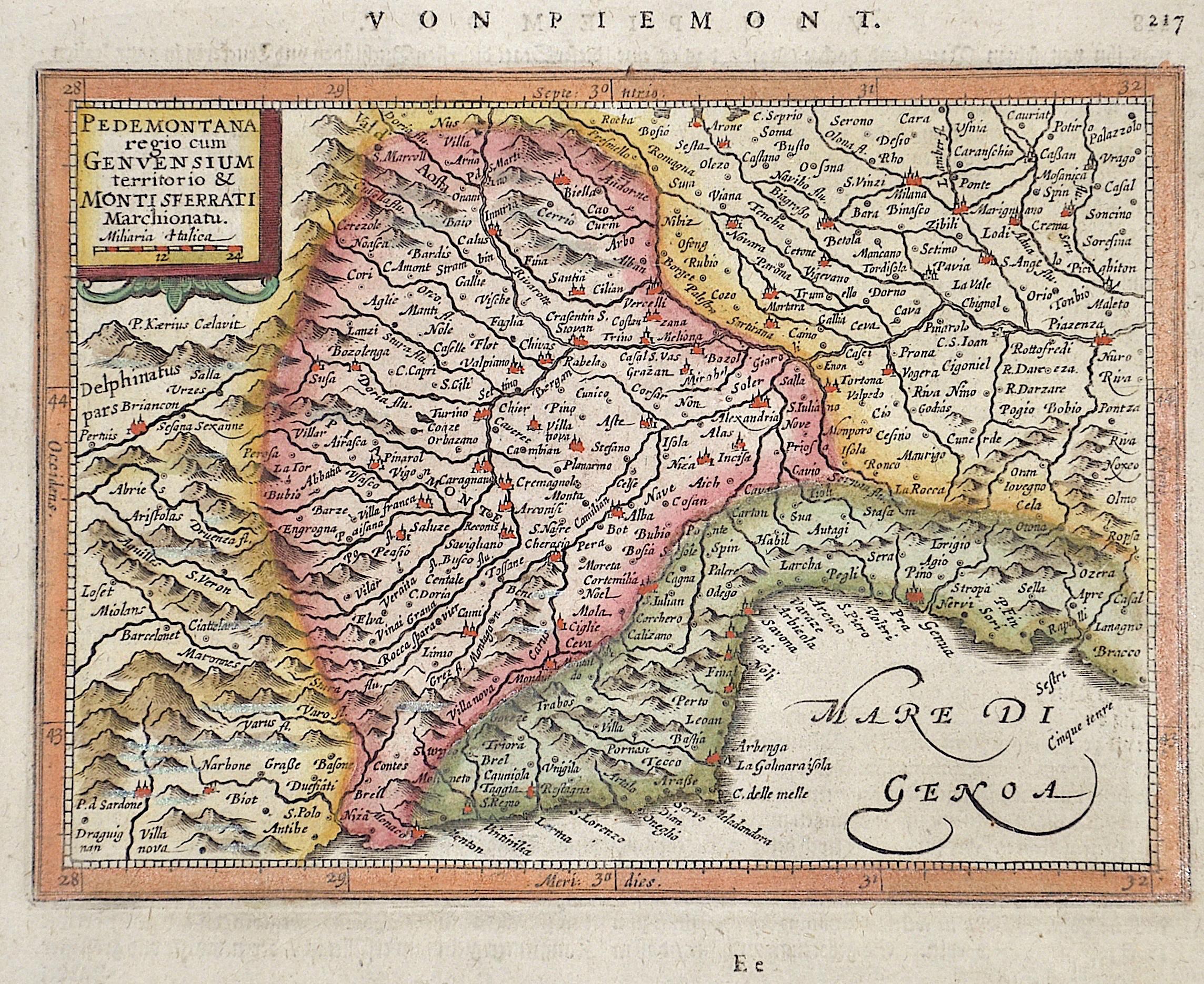 Mercator Gehard Pedemontana  regio cum Genuensium territorio /Montisferrati marchionatu