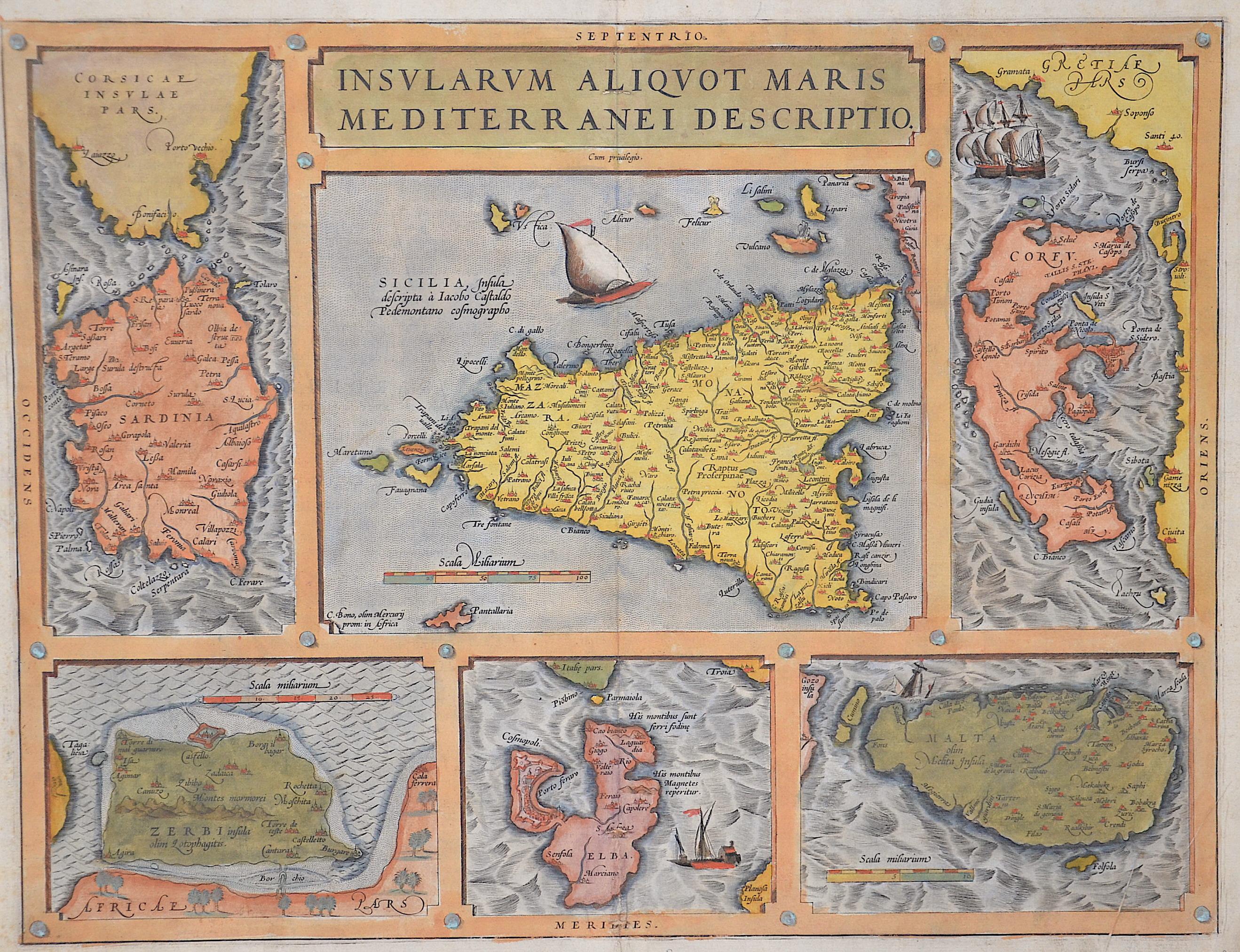Ortelius Abraham Insularum Aliiquot Maris Mediterranei descriptio