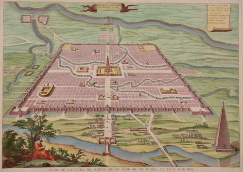 Anonymus  Plan de la ville de Ninive selon Diodore de Sicile, et le P. Kircher