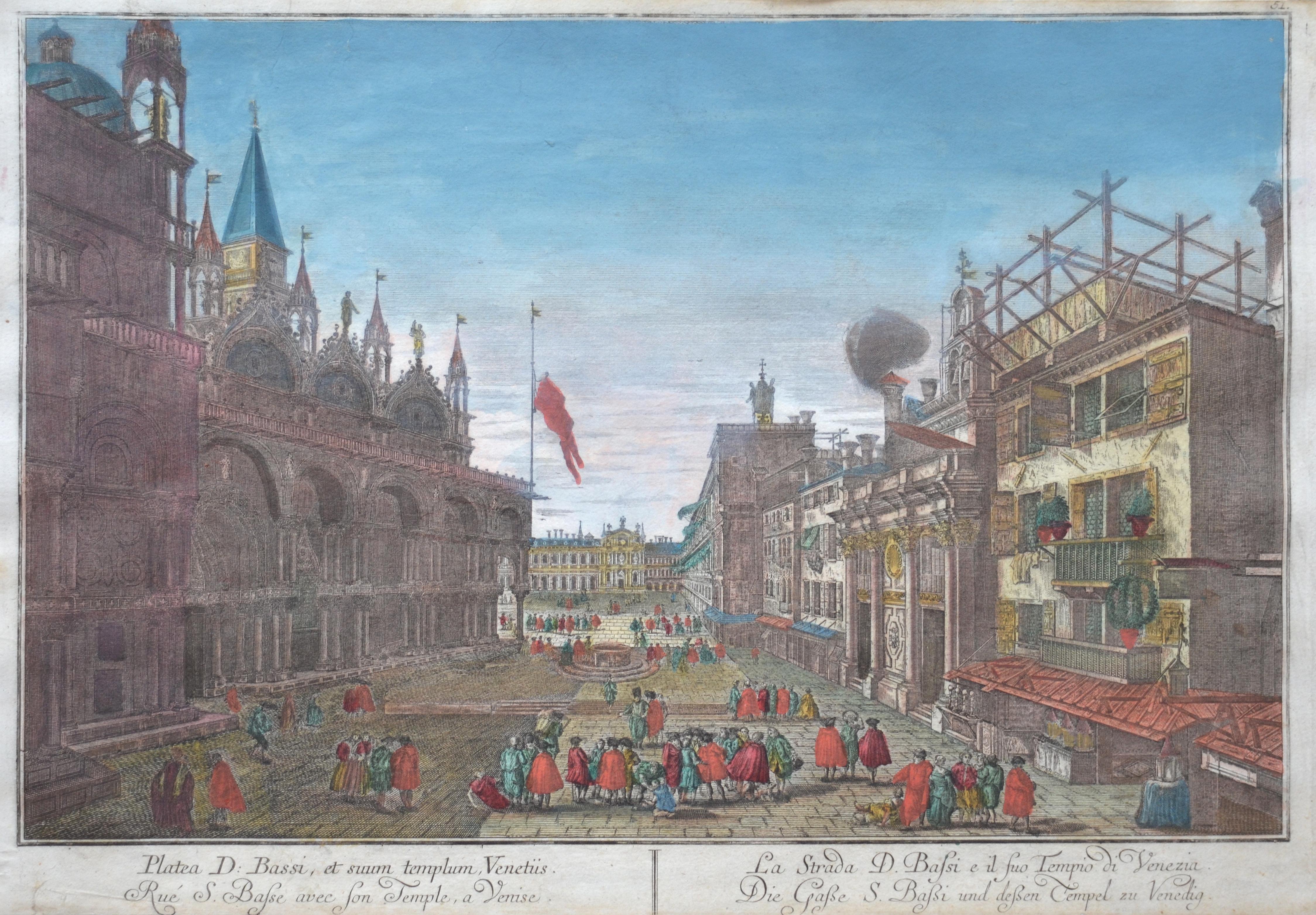 Probst Johann Friedrich La Strada d. Bassi e il suo Tempio di Venecia/ Die Gasse S.Baßi und deßen Tempel zu Venedig