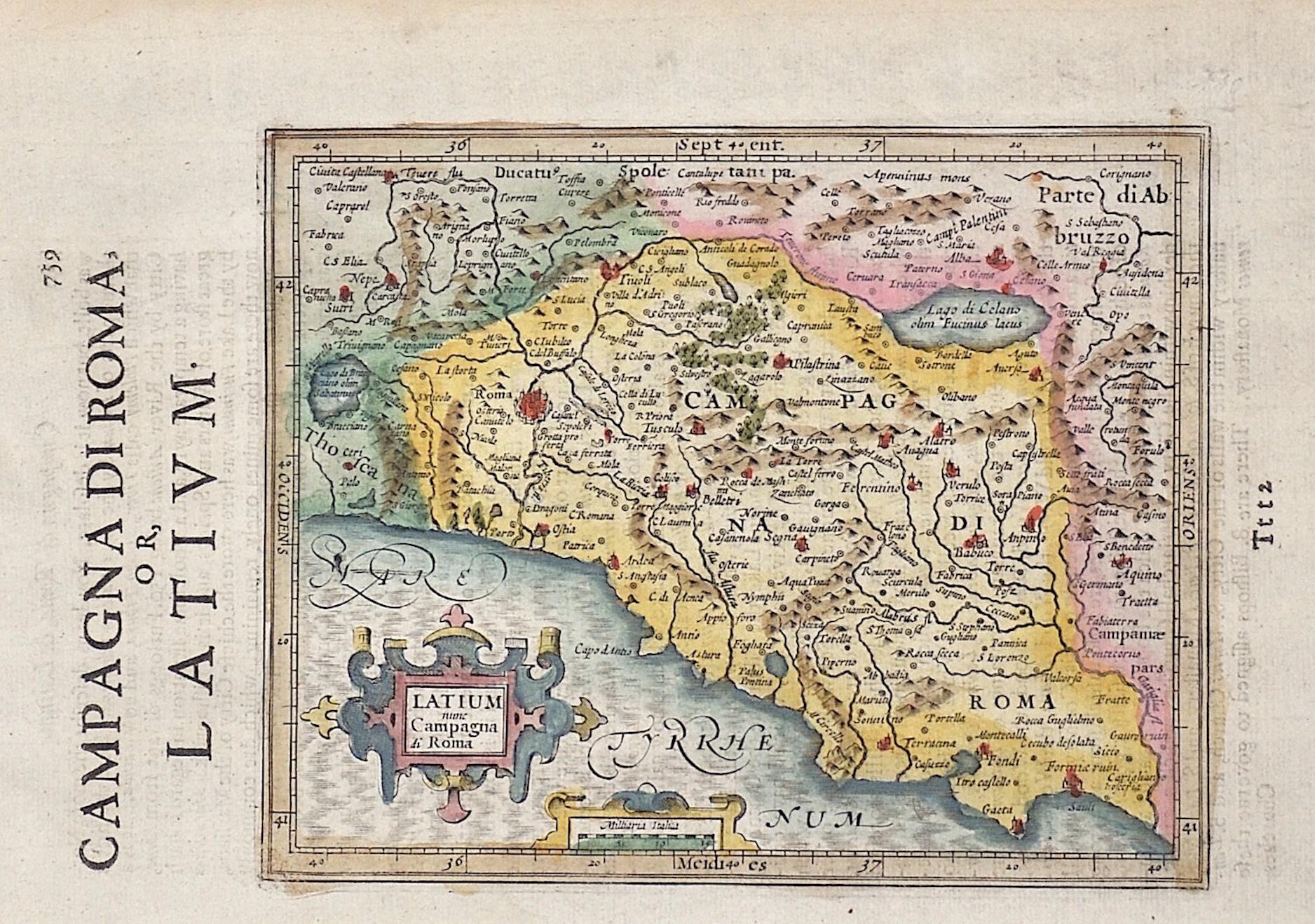 Hondius/Sparke  Latium nunc campagne di Roma