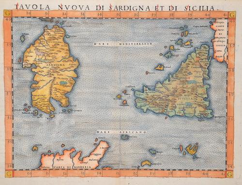 Ptolemy/ Ruscelli Claudius Tabula nouva di Sardigna et di Sicilia
