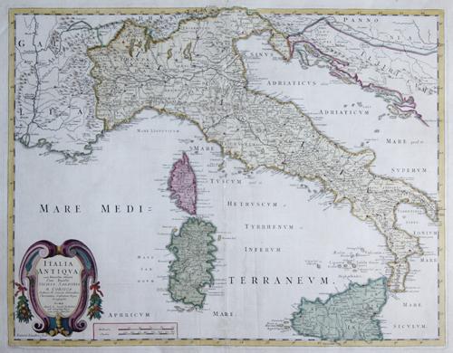 Sanson  Italia antiqua cum Itineribus antiquis. Cum Insulis Sicilia, Sardinia & Corsica