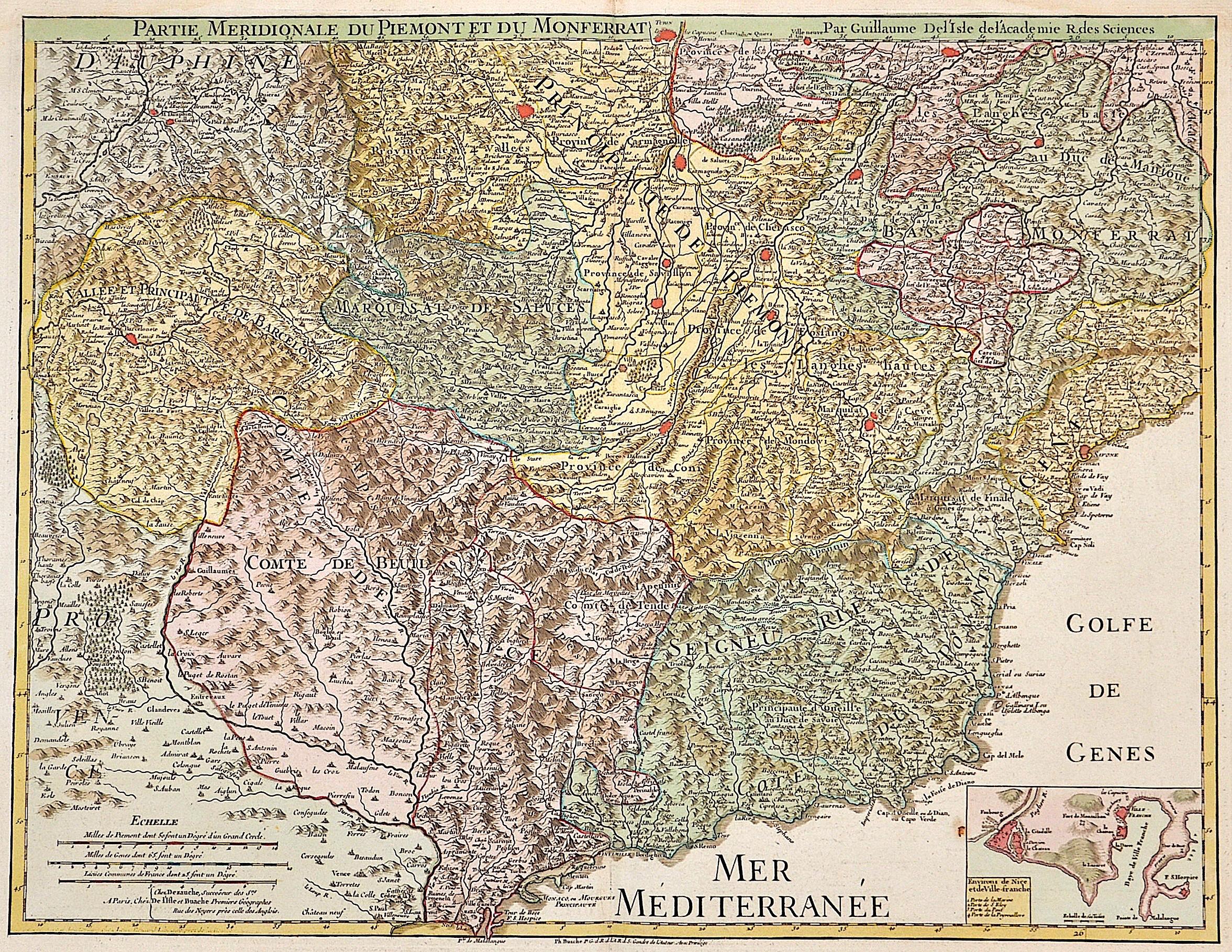 Dezauche/de l´Isle, J.A. / Guillaume Partie meridionale du Piemont du Monferrat par Guillaume de L´Isle de l´Academie R. des Siences