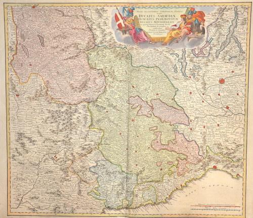 Homann Johann Babtiste Regiae…Ducatus Sabaudia Principatus Pedemontium Ducatus montisferrati Piemont