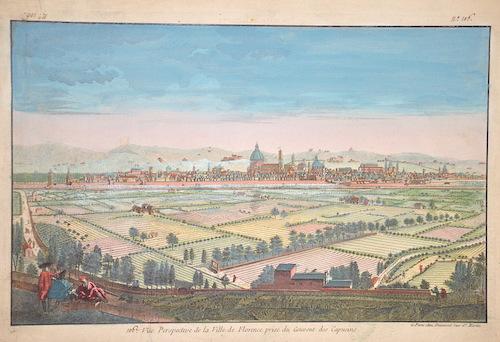 Daumont Jean-Francois Vue Perspective de la Ville de Florece prise du Couvent des Capucins.