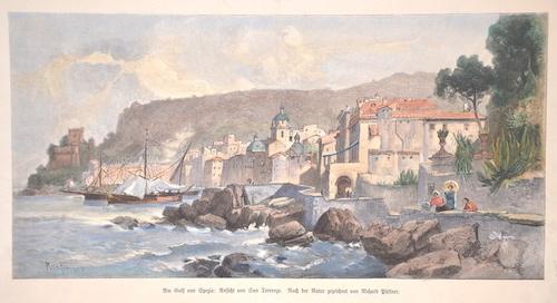 Püttner  Am Golf von Spezia: Ansicht von San Terrenzo. Nach der Natur gezeichnet von Richard Püttner.