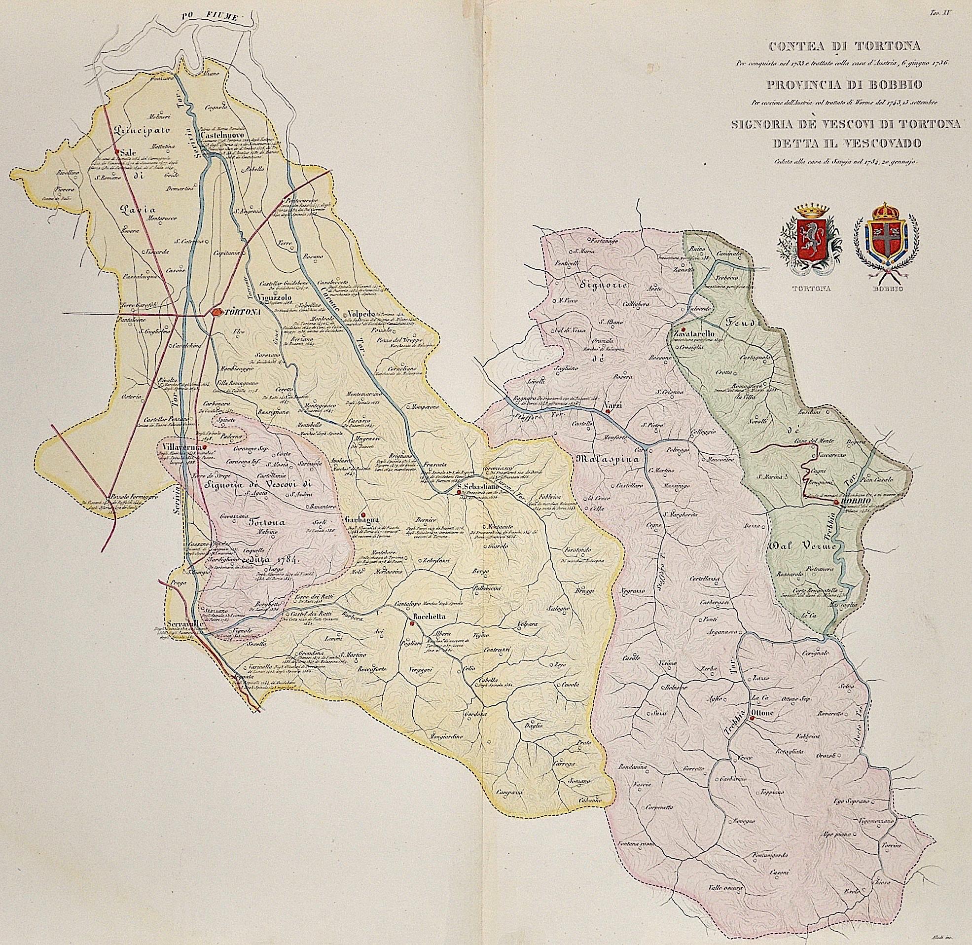Allodi  Contea di Tortona, Provincia di Bobbio, Signoria dè vescovi di Tortona detta il Vescovado. Ceduta della casa Savoja nel 1734, 20 gennajo.