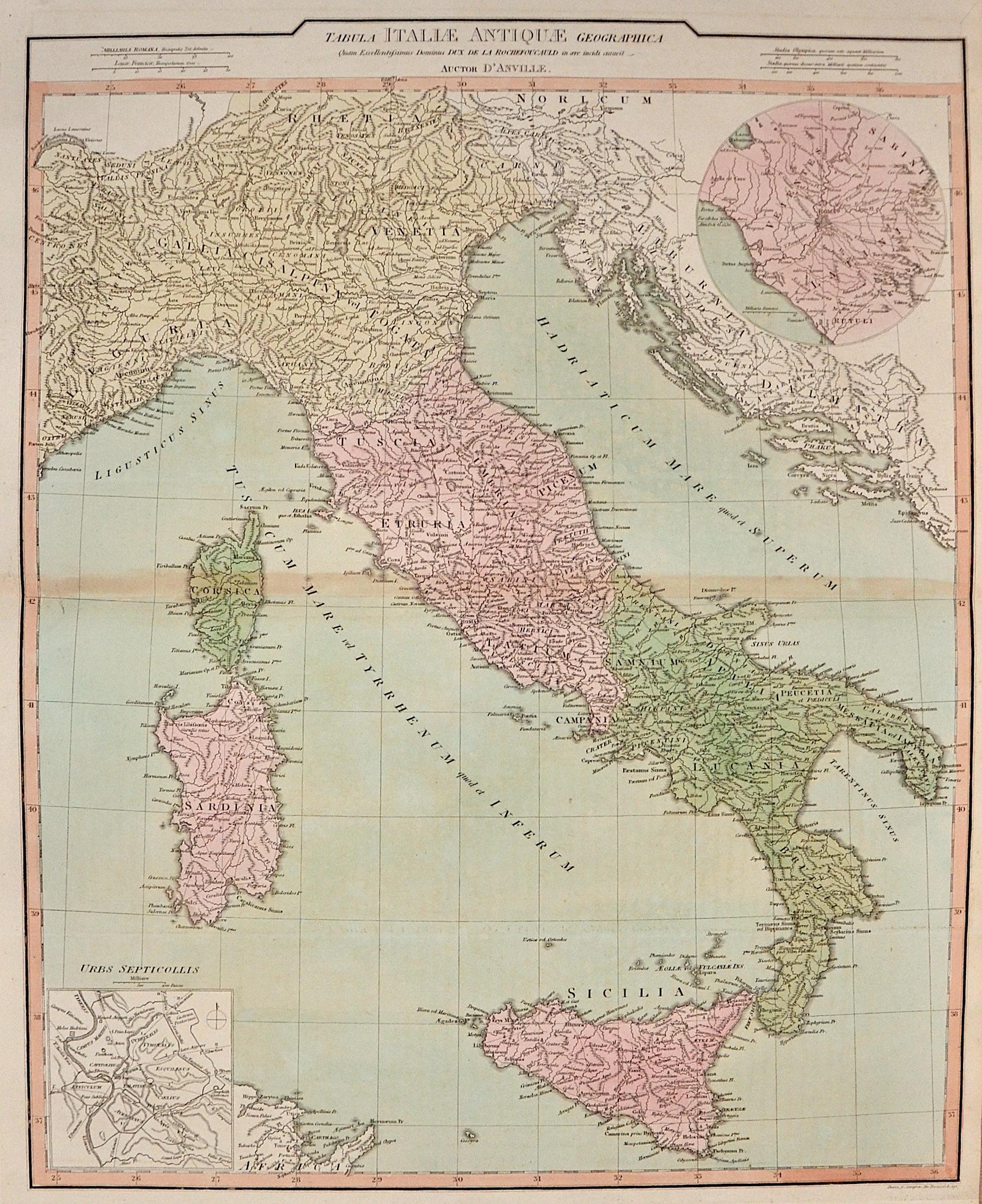 Anville´d Jean Babtiste Tabula Italiae Antique Geographica