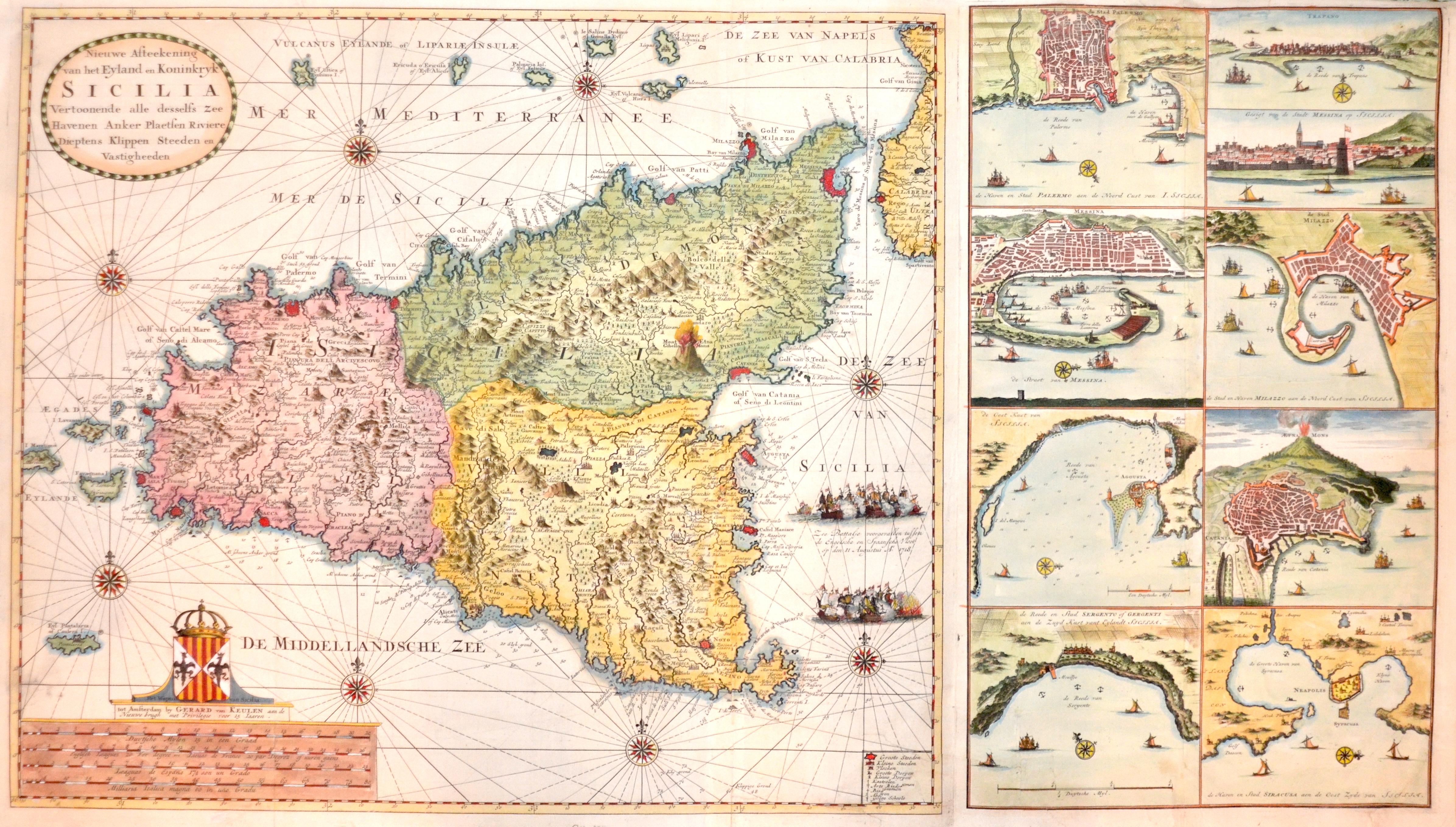 Keulen Gerard van Nieuwe Afteekening van het Eyland en Koninkryk Sicilia
