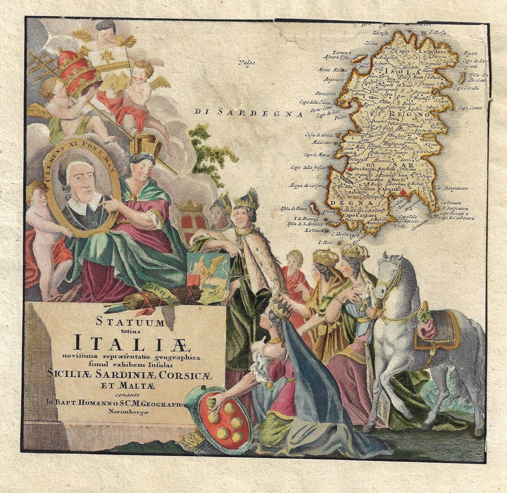 Homann Johann Babtiste Statuum totius Italiae novißima repraesentatio geographica simul exhibens Insulas Siciliae Sardiniae Corsicae et Maltae